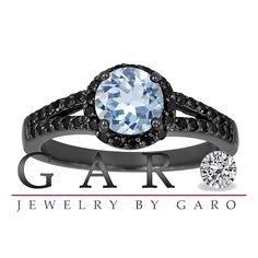 Aquamarine & Fancy Black Diamond Engagement Ring Vintage Style 14K Black Gold 1.40 Carat Halo Pave Set HandMade Certified Unique - Jewelry by Garo