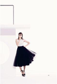 Navy full volume flouncy skirt with mesh white shirt - Christian Dior Resort 2013