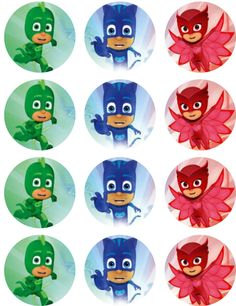 1 sheet of PJ Masks images on edible frosting paper. Each image is about round, good for cupcakes or chocolate covered oreos. There are 12 images on this Pj Masks Cupcake Toppers, Pj Mask Cupcakes, Fondant Cupcakes, Pj Masks Images, Pj Masks Stickers, Pj Masks Birthday Cake, Birthday Cupcakes, Pj Masks Printable, Pj Mask Party Decorations
