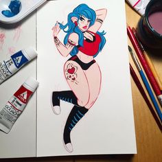 "Complete   Holbein acryla gouache on 5""x9"" cottonwood cold press paper  #teatigercafe #illustration #pinupgirl #tattooedgirls #gouachepainting #gouache #holbeinacrylagouache"