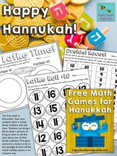 Free Hanukkah Resources for Kindergarten & First Grade - Happy Teacher, Happy Kids Feliz Hanukkah, Hanukkah Crafts, Kwanzaa, Happy Hannukah, Printable Math Games, Hebrew School, Christmas Math, Merry Christmas, H Design
