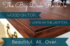 A DIY desk makeover at The Creek Line House. From beat up and plasticky red to classic white and wood!