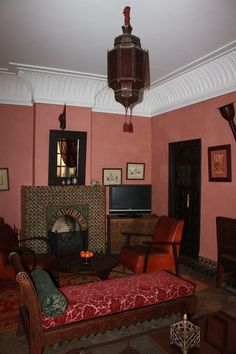 red brick fireplace moroccan living room