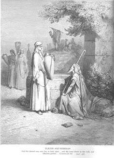 The Doré Bible Gallery. The Meeting of Isaac and Rebekah.