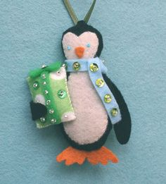 A felt penguin ornament