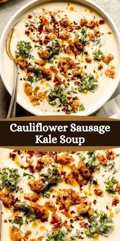 Sausage And Kale Soup, Italian Sausage Soup, Italian Chicken Soup, Italian Soup, Creamy Cauliflower Soup, Cauliflower Soup Recipes, Soup Recipes With Bacon, Chicken And Kale Recipes, Chicken Kale Soup