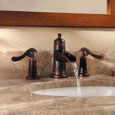 widespread bathroom faucet waterfall bronze | Pfister GT49-YP1U Rustic Bronze Ashfield Widespread Waterfall Bathroom ...