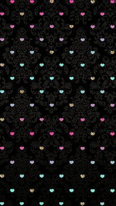 Fondo negro con corazones de colores