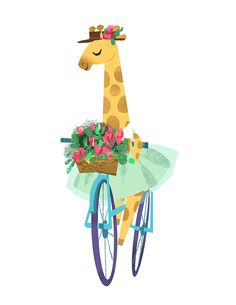 Idea when making bike sculpture: Steampunk Metal flowers in Bike Basket Cute giraffe on a bike illustration by Victoria Ying Giraffe Illustration, Bike Illustration, Giraffe Art, Cute Giraffe, Bicycle Art, Cute Drawings, Illustrations Posters, Artwork, Metal Flowers