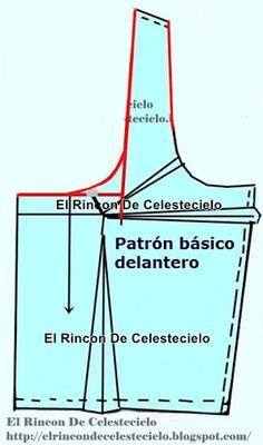 El Rincon De Celestecielo: Tipos de escotes. Escote en U. Desarrollo de modas. Convención del diseño Dress Patterns, Sewing Patterns, Pattern Drafting, Projects To Try, How To Make, Alice, Blouses, Celestial, Videos
