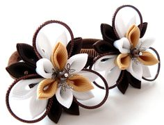 Kanzashi fabric flowers. Set of 2 ponytails . Brown and by JuLVa, $13.50