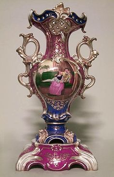 French Victoiran Jacob Petit Porcelain Red, White And Blue Vase With Bird Scene And Scroll Handles