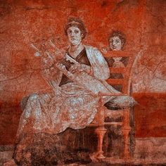 Woman giving a lute concert on a cithara, a form of lyre. 40BC.