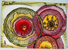 --- + Dieses Bild habe ich begonnen mit der Freude an Kreisen und an den Herbstfarben braun, gelb, rot. Erstmal einfach so ... Dann aber entwicke...