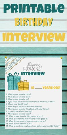 Birthday Interview Printable for kids!