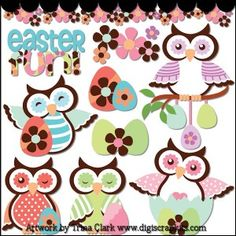 Easter Owls Clip Art - Original Artwork by Trina Clark