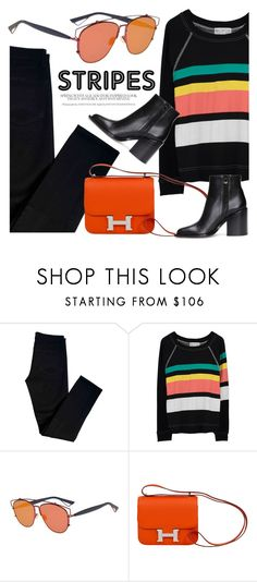 """Bold Stripes"" by smartbuyglasses ❤ liked on Polyvore featuring J Brand, Wildfox, Christian Dior, Hermès, Marni, black, orange and BoldStripes"