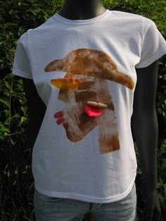 White Cotton Hand Painted T-shirt Hand drawn African by Aglika