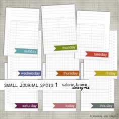Free PL printables from Valerie Brown - I don't do project life, but these are still great for scrapbooking little notes if they are day specific