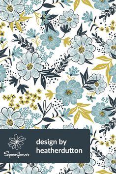 Blue & Green Cottage •~• Harper Floral - Dusk Blue by heatherdutton