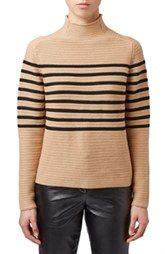Topshop Unique 'Broadwick' Stripe Funnel Neck Sweater