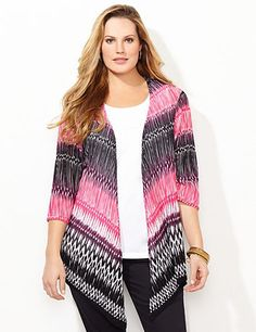 Montage Cardigan | Catherines Unique geo prints with blended coloring give a modern look to our latest cascade. Herringbone design features tiny openwork detail covering the stretch fabric. Complete with three-quarter sleeves and a draping, hi-low hem for a flattering finish. Catherines tops are perfectly proportioned for the plus size woman. #catherines #plussizefashion #springstyle
