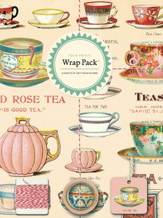 cavallini Wrap Packs New for 2014!  Tea & Sweets Wrap Pack vintage imagery from a l'anglaise tea table~