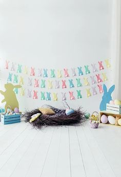 Easter Decorations Easter Eggs Bunny Photography Background S-3238 – Dbackdrop Backdrop Stand, White Backdrop, Flower Backdrop, Easter Backdrops, Muslin Backdrops, Background For Photography, Photography Backdrops, Photography Tips, Digital Backdrops