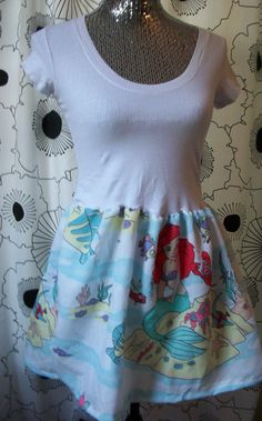 Vintage Little Mermaid Ariel Disney White Cute Tee Shirt Recycled Disneyland Sun Dress. $45.00, via Etsy./Even cuter if it was a romper :-)
