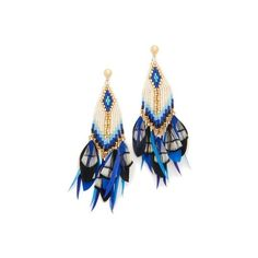 GAS Bijoux Huichol Plume Earrings (8 240 UAH) ❤ liked on Polyvore featuring jewelry, earrings, blue, multi colored earrings, beaded earrings, cluster earrings, feather earrings and multi color earrings