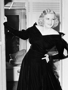 """bettesdavis: """" Jean Harlow posing in the doorway of her private dressing room on the set of Personal Property, 1937 """""""
