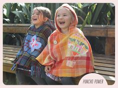Homemade ponchos out of vintage woollen blankets