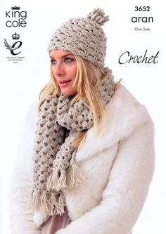 This is one of the loveliest Crochet Scarf and Hat patterns i have seen this year... King Cole Yarn Pattern for purchase