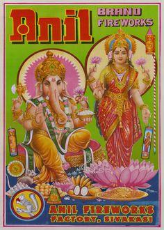 Ganesh, India Poster, Art Populaire, Firecracker, Moment, Diwali, Photos, Illustrations, Vintage