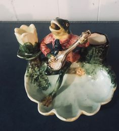 Anthropomorphic frog - Antique continental majolica frog