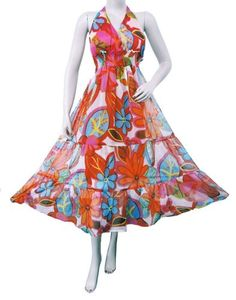 Ibaexports Multicolor Chiffon Sundress Floral Boho Long Women Wear Cover Up Dress Casual Clothing Sz M « Clothing Impulse