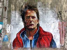 Marty Mcfly graffiti portrait. All that time traveling gave him Parkinson's.