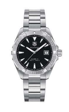 ac27bb46289 Air Force Academy Men s TAG Heuer Steel Aquaracer with Black Dial Close-Up