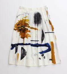 霧の街プリント ギャザースカート