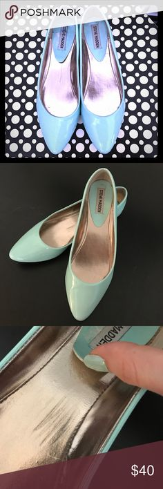 Steve Madden Ibiza flats Steve Madden flats, Ibiza style. Size 8. Beautiful mint green with a blue hue. In very good condition, with a bit of wear: lift in the heel pad and rough patch on the surface, both shown in picture 3. My puppy walked around with one for a bit, so there are two teeny little marks from her teeth, shown in picture 4, and the picture makes it look worse than it really is lol. I wore these 30 minutes before I caved since they're so skinny! Not the shoes for me. So pretty…