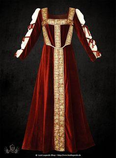 Rotes Samtkleid mit gebundenen Ärmeln - Saskia
