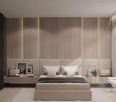 Luxurious contemporary and bespoke bedroom. I love how the cushions continue all the way across the bed and night stands.