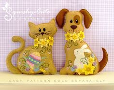 Stuffed Animal Pattern - Felt Plushie Sewing Pattern & Tutorial - Daffodil the Easter Dog - Embroidery Pattern PDF. $5.00, via Etsy.