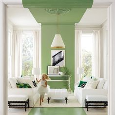 "This Paint Treatment is the New ""Pop of Color"" goodman hanging pendant light living room"