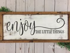 Enjoy Wood Sign Farmhouse Sign Distressed Sign Distressed Farmhouse Sign Farmhouse Decor Wood Sign Enjoy the Little Things Sign DIY Wood Signs Decor Distressed Enjoy Farmhouse Sign Wood Diy Wood Signs, Painted Wood Signs, Rustic Wood Signs, Pallet Signs, Home Wooden Signs, Farmhouse Signs, Farmhouse Decor, Diy Wood Projects, Wood Crafts