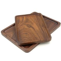 Bamber Wood Rectangular Serving Trays, Medium, Black Walnut, x 9 Inches Serving Tray Wood, Wood Tray, Serving Platters, Wooden Crate Boxes, Wooden Rack, Picnic Theme, Tray Decor, Walnut Wood, Decorative Trays