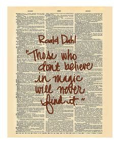 Love+this+'Believe+in+Magic'+Roald+Dahl+Dictionary+Print+by+Doodli-Do's+on+#zulily!+#zulilyfinds