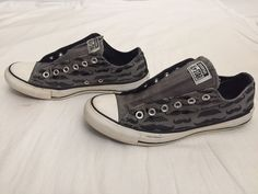 Converse All Stars 7 Men or 9 Women Gray Mustache Canvas Lace Up Sneaker Shoes #Converse #Athletic