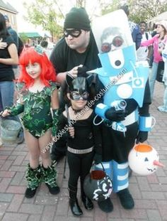 Homemade Batman Villains Child Group Halloween Costumes: A family of villains... My children love the video game Lego Batman. My daughter came to me earlier this year and told me she wanted to be Poison Ivy...