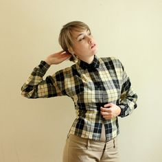 1940s Blouse  Womens Plaid Shirt  Black and by AllengroveVintage, $58.00